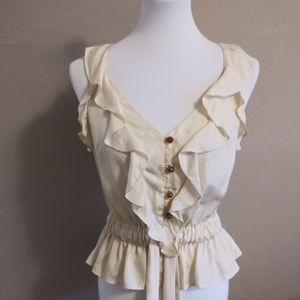 Leifsdottir Ruffled Cream Blouse